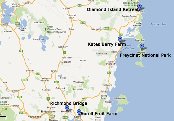 Tasmania 8 Days SelfDrive Itinerary East Coast attractions – East Coast Tourist Attractions Map