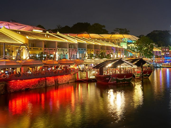 Clarke quay and bumboats at night