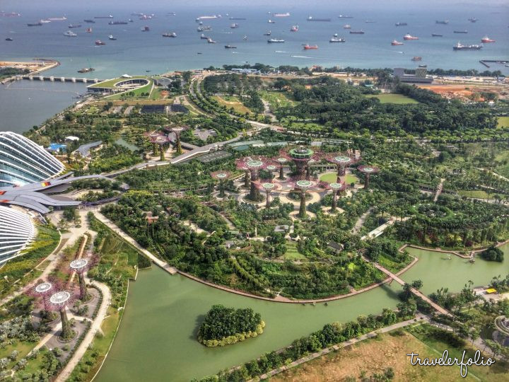 Gardens by the Bay and Marina Barrage view from Marina Bay Sands
