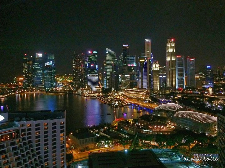 Night scene of Singapore financial district and Esplanade