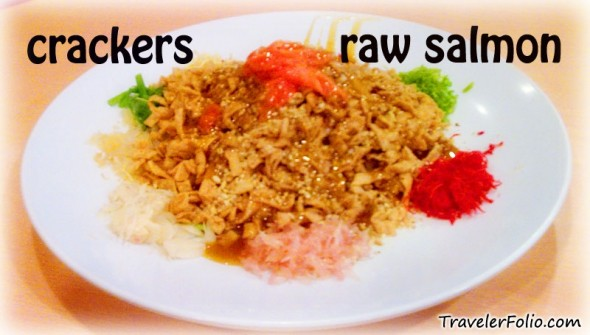 yusheng with raw salmon and crackers