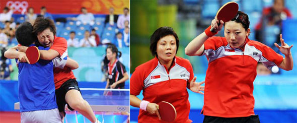 singapore table tennis women's team vs south korea, into final Beijing olympic 2008